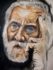 Augen, Pastellmalerei, Denkend, Mann