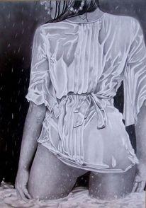 Rücken, Regen, Bleistiftzeichnung, Nass