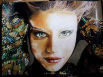 Bunt, Pastellmalerei, Wild, Augen