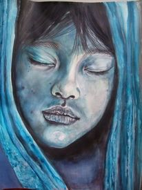 Gesicht, Aquarellmalerei, Pastellmalerei, Blau