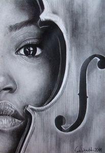 Zeichnung, Schwarz weiß, Frau, Geige
