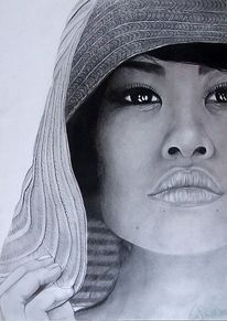 Bleistiftzeichnung, Asien, Augen, Frau