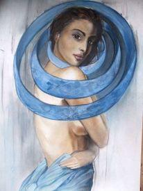 Augen, Akt, Fantasie, Pastellmalerei