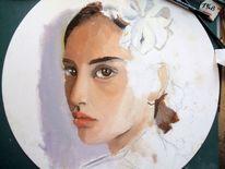 Portrait, Blick, Ölmalerei, Violett