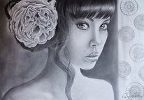 Zeichnung, Schwarz weiß, Frau, Blumen