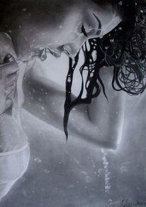 Schwarz weiß, Portrait, Nass, Zeichnung