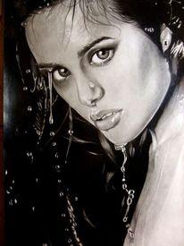 Augen, Grafit, Bleistiftzeichnung, Nass