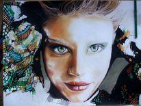 Pastellmalerei, Portrait, Bunt, Blick
