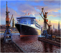 Queen mary, Queen mary2, Hamburger hafen, Maritim