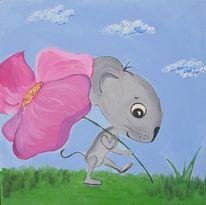 Maus, Blau, Acrylmalerei, Rosa