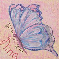 Acrylmalerei, Schmetterling, Handgemalte bilder, Rosa