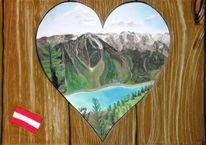 Baum, Herz, Berge, Flagge