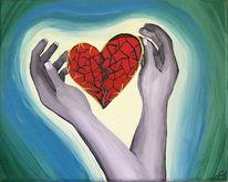 Hände, Herz, Hand, Blau