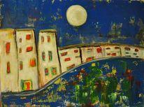 Mond, Vollmond, Blau, Nacht