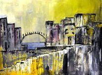 Stadt, Acrylmalerei, Abstrakt, Malerei
