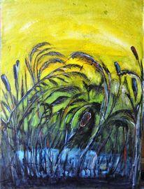 Pflanzen, Schilf, See, Malerei