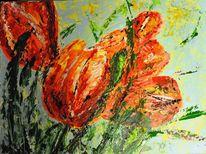 Tulpen, Blumen, Malerei, Pflanzen