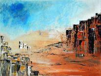 Wüste, Stadt, Häuser, Spachtel