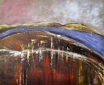 Abstrakt, Sturm, Fluss, Acrylmalerei