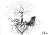 Zeichnung, Abschied, Herz, Bleistiftzeichnung