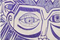 Blick, Augen, Zeichnung, Blau