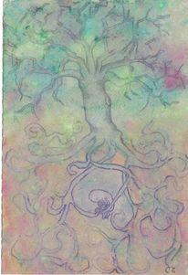 Zeichnung, Tod, Wurzel, Baum