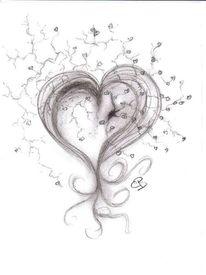 Schwarz weiß, Herz, Kohlezeichnung, Zeichnung