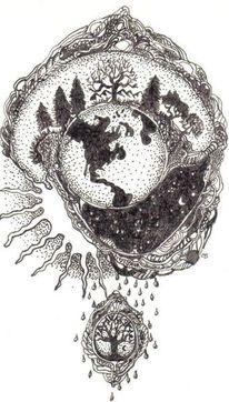 Tintenzeichnung, Welt, Nacht, Fantasie