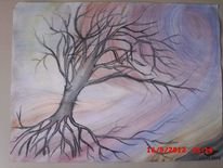 Sturm, Zeichnung, Tusche, Aquarellmalerei