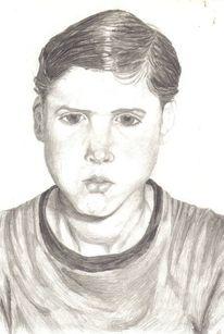 Portrait, Bleistiftzeichnung, Junge, Zeichnung