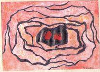 Aquarellmalerei, Rot schwarz, Bleistiftzeichnung, Abstrakt