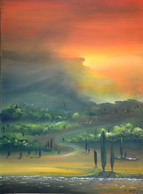 Toskana, Acryluntermalung, Malerei