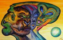 Chimära, Ölmalerei, Hartfaser, Abstrakt