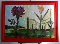 Expressionismus, Blumen, Rose, Unkraut