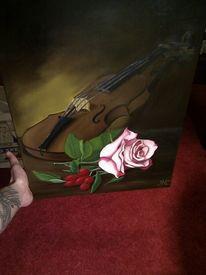 Ölmalerei, Musikstilleben, Blumen, Rose