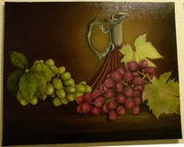 Stillleben, Obststillleben, Trauben, Karaffe