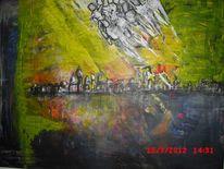 Reiter, Stadt, Untergang, Malerei