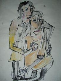 Beziehung, Zueinander, Menschen, Malerei