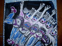 Ölmalerei, Fallen, Frau, Tanz