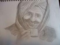 Indien, Mann, Zeichnungen, Portrait