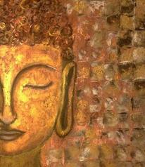 Buddha, Meditation, Gold, Mischtechnik