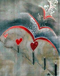 Schweben, Herz, Malerei,