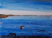 Boot, Mond, Bucht, Meeresvögel