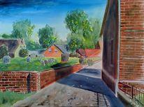 Aquarellmalerei, Häuser, Rysum, Landschaft