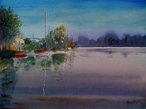 Natur, See, Abend, Ufer