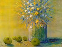 Stillleben, Apfel, Obst, Blumen