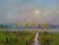 Nebel, Wiese, Landschaft, Morgen
