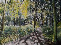 Natur wald landschaft, Aquarell, Malerei, Wald