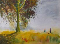Wiese, Menschen, Mohnblumen, Landschaft