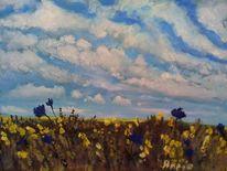 Himmel, Kornblumen, Wolken, Landschaft